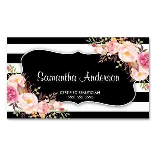 39 best salon spa business cards images on pinterest spa salon elegant floral black white stripe beauty salon business card reheart Choice Image