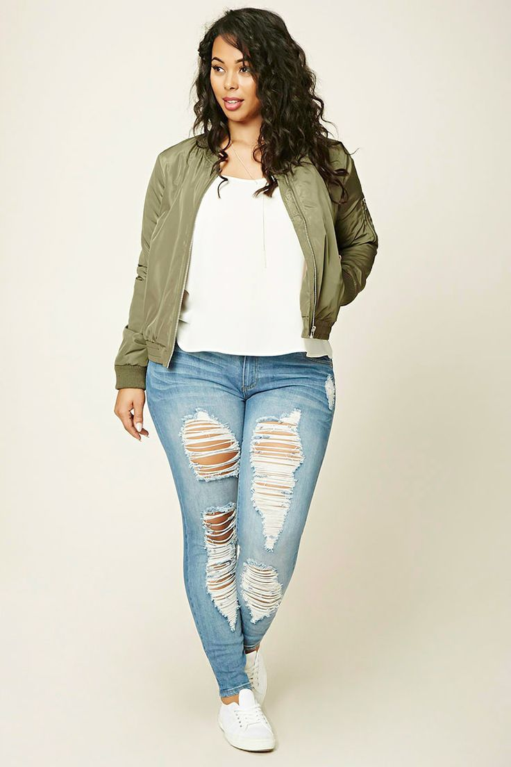 Forever 21+ - A pair of distressed denim jeans featuring a five-pocket construction and a zip fly.