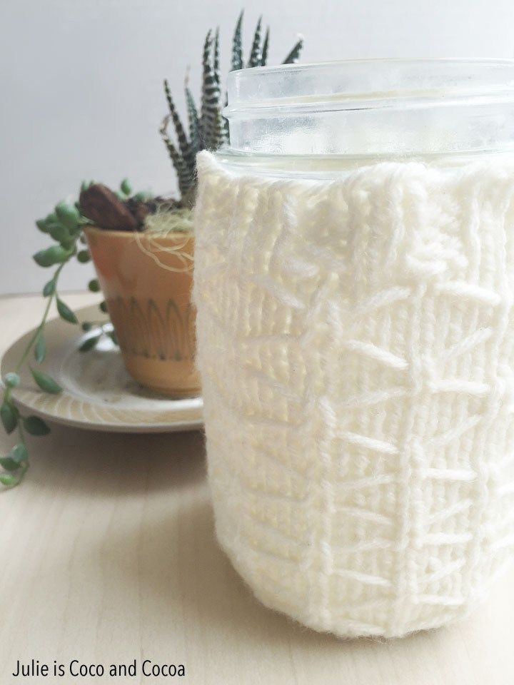 Knitting Quilted Lattice Stitch : Quilted lattice mason jar knit cozy free pattern