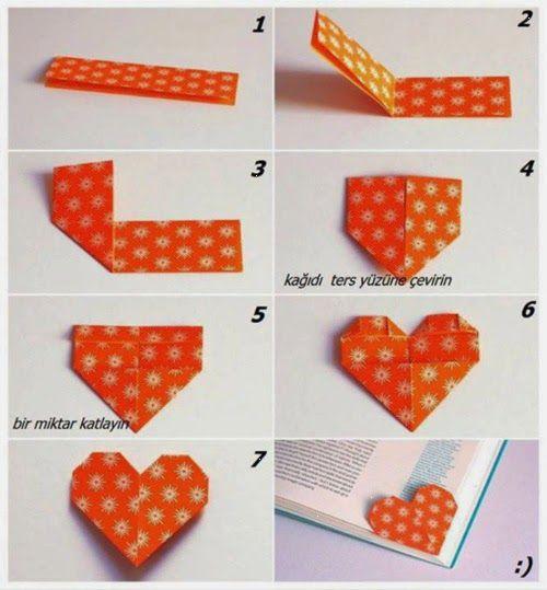 Origami: Punto de libro con forma de corazón