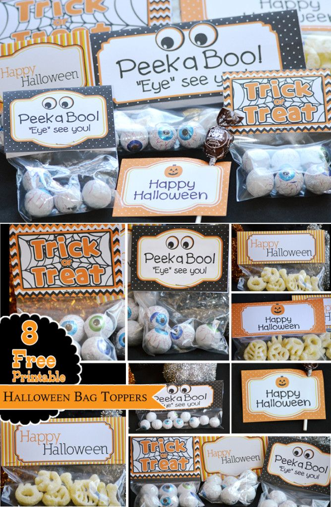 8 free printable Halloween favor bag toppers - free Halloween printables for treat bags, favor bags, ziploc bag, party favors and more