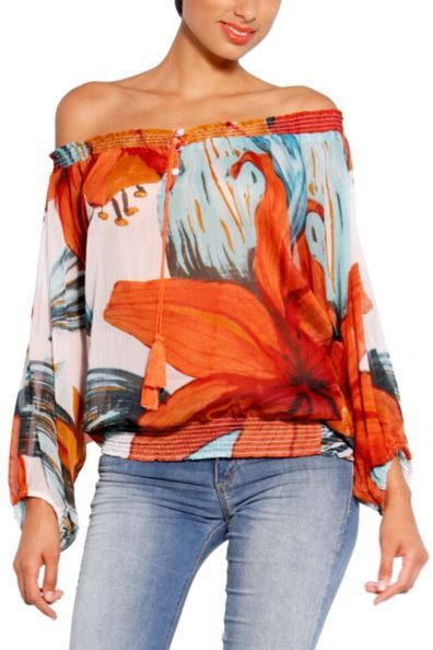 Desigual Rosas Blouse $84.00  Desigual women's Rosas blouse from the Love range. An original, fresh and colourful blouse which is perfect for the spring/summer season. You can wear it strapless or with just one strap…
