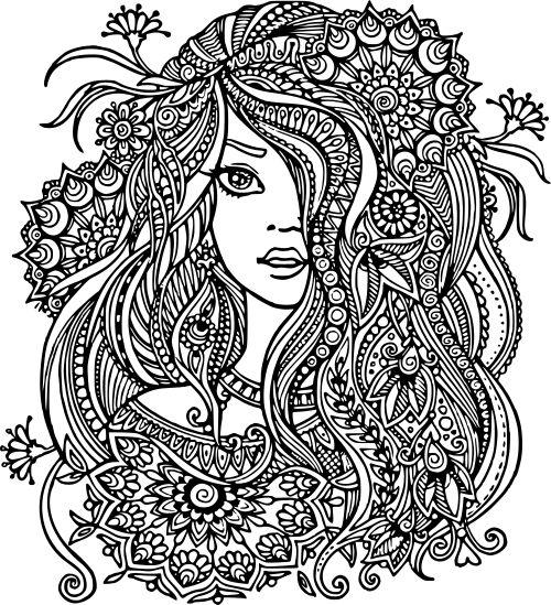 SVGS for Geeks! pretty girl mandala Mandala coloring