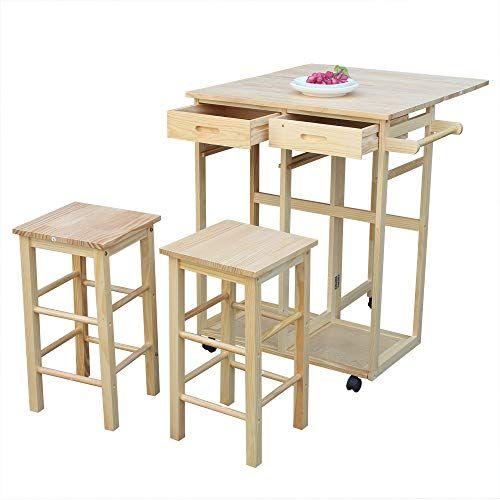 Binlin 3 Piece Wood Dining Table Set With 2 Pub Stools Rolling Caster Kitchen Island Table With Drop Leaf Small Bar Table Dining Stools Kitchen Island Table