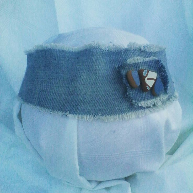 Beautiful Jeans Headband With Matched Seatile Pottery, Big Jeans Headband for Woman, Romantic Woman Headband, Pregnancy Photoprop di Mughetto su Etsy