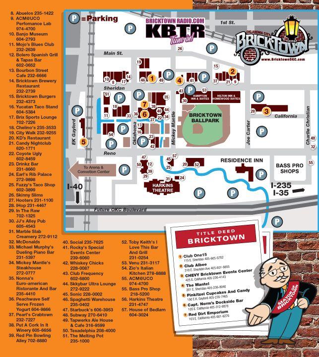 Bricktown Map  Oklahoma City  Pinterest