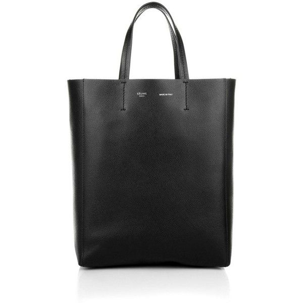 Celine Handle Bags, Cabas Small Vertical Tote Black Handbag (€795) ❤ liked on Polyvore featuring bags, handbags, tote bags, black, structured leather tote, genuine leather tote, leather hand bags, evening handbags and leather man bag