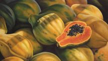 """""""Sunny Papayas"""" Hand Signed Limited Edition Giclee 16"""" x 26"""" at Maui Hands"""