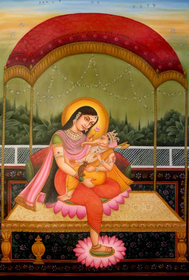 """""""By getting up early in the morning one also gets more time at his disposal for work as compared to late-risers. Scholar and thinkers get up early in the morning and contemplate. """"  Photo: Ganesh with his mother Parvathi"""