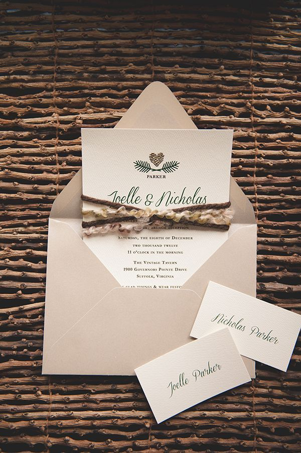 not on the high street winter wedding invitations%0A Pining for Pinecones  Winter Wedding InvitationsWedding