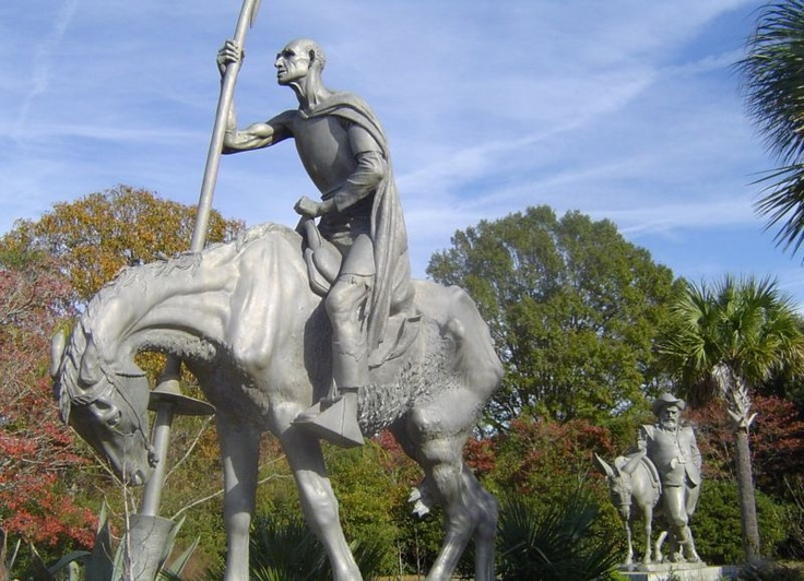 Brookgreen Gardens. Don Quixote, a knight on his horse Rocinante. Sancho Panza, his squire standing beside his donkey Dapple. (Cervantes): Brookgreen Gardens, Quixote Projects, Quixote Brookgreen, Knights, Donkeys Dapple, Hors Rocin, Horses Rocinant, Don Quixote