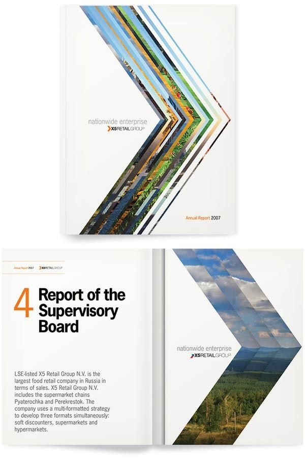Really cool cover design. It gives you a nice preview of the rest of the report. Great layout and the technique of layering creates great color contrast.