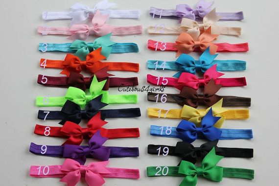 5 baby headband - 2 dollar each - hair bands - headband for newborn - baby bow headband. You caan choose colors on Etsy, $10.00