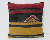 16x16 striped decorative pillow embroidered kilim pillow medallion throw pillow red pillow cover black pillow case gold cushion covers 25671