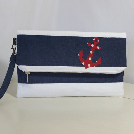 Fold Over Clutch  Nautical  Clutch Bag  Purse  by BlueBirdGiftShop