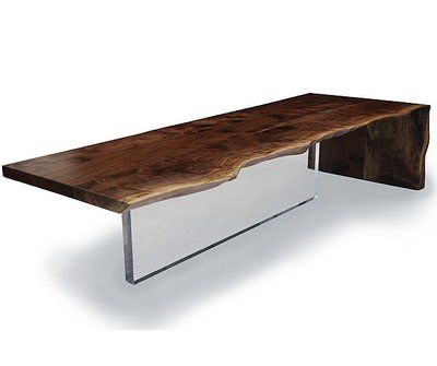 I love mixing materials... wood & plexiglass table by Hudson Furniture Inc.