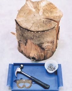 Hammering nails into a stump is a Practical Life activity that teaches an important skill with a number of other excellent benefits: responsibility and caution, comfort around tools, hand eye coordination, and both gross and fine motor movement development. It's also an excellent tool for helping redirect restless or disruptive behavior positively.