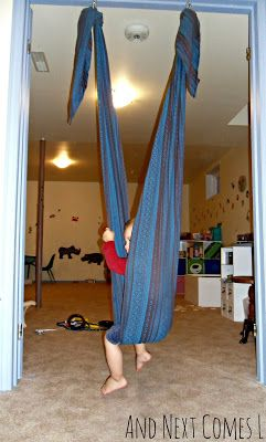 Make your own sensory swing by converting a woven wrap from And Next Comes L