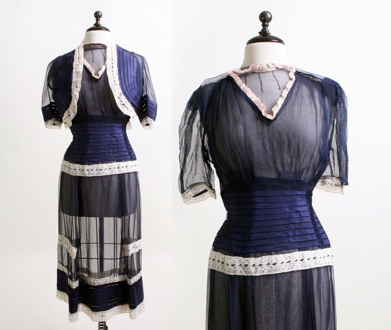 1940s Sheer Dress  Dark Navy Blue and White Lace Dress by zwzzy, $160.00