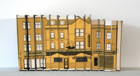 82 / 79 Lower Marsh, Three Colour Screenprint on Books (2012) Featured shops include Greggs /La Barca Restaurant / Chicken Cottage.