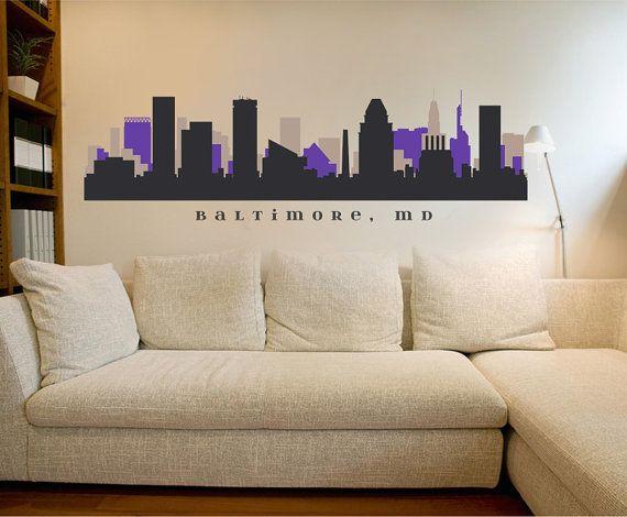BALTIMORE MARYLAND Ravens Skyline NFL Team Colors Wall Decal Art Vinyl Repositionable Fabric Matte Sticker Living Room Office Decor City