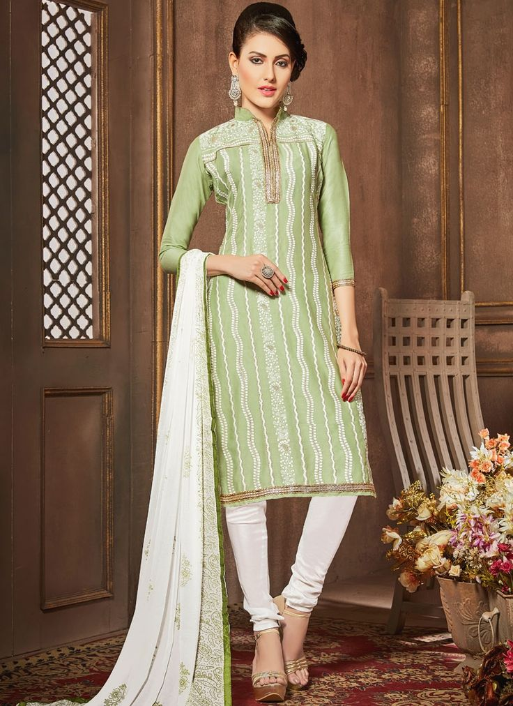 Irresistible Green Churidar Designer Suit