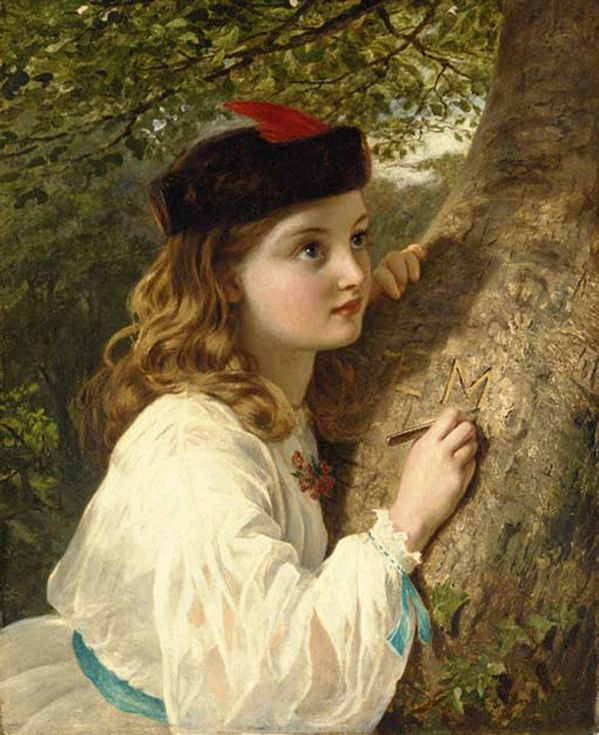 """""""The Initials"""" -- by Sophie Anderson (French-born English,1823-1903)"""