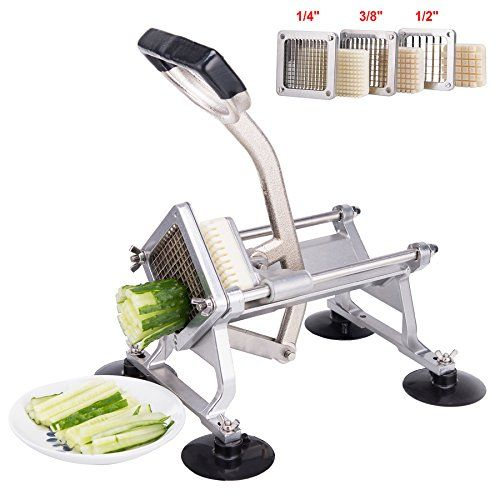 CO-Z Commercial Grade Heavy Duty French Fry Cutter Fruit Vegetable Slicer with Suction Feet Complete Set with 1/4″ 3/8″ 1/2″ Wedge Blades/Pusher Blocks – Kitchen Appliances