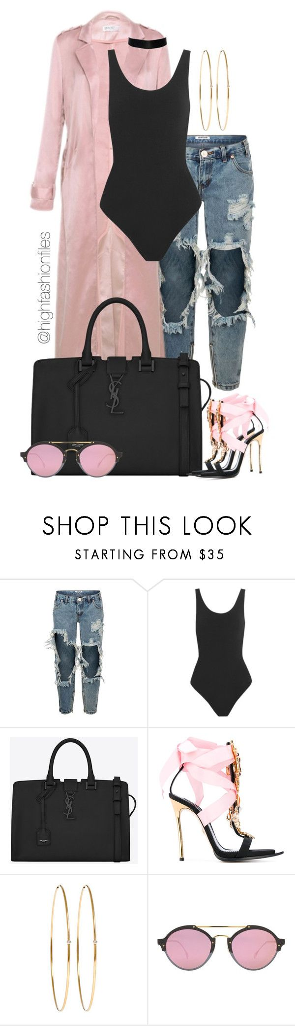 """""""Untitled #2750"""" by highfashionfiles ❤ liked on Polyvore featuring OneTeaspoon, Yummie by Heather Thomson, Yves Saint Laurent, Dsquared2, Jennifer Meyer Jewelry and Illesteva"""