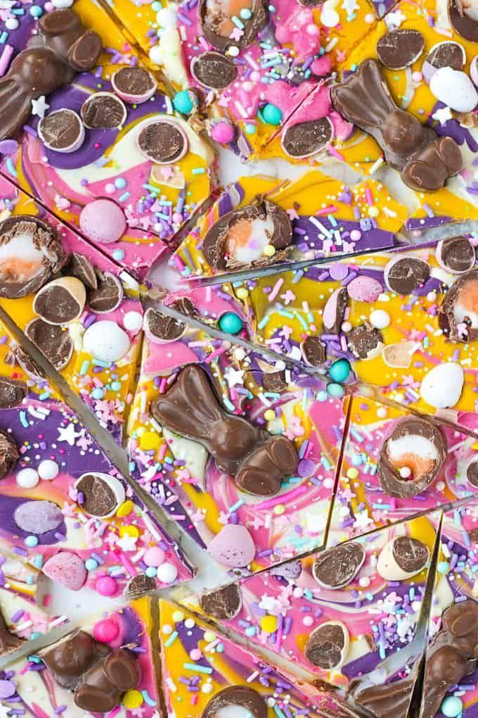Chocolate Easter Bark with Candy & Malteaster Bunnies via @tamingtwins