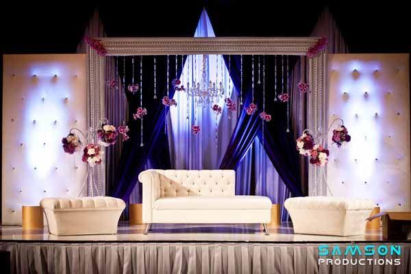 modern reception stage, head table decor. Indian wedding