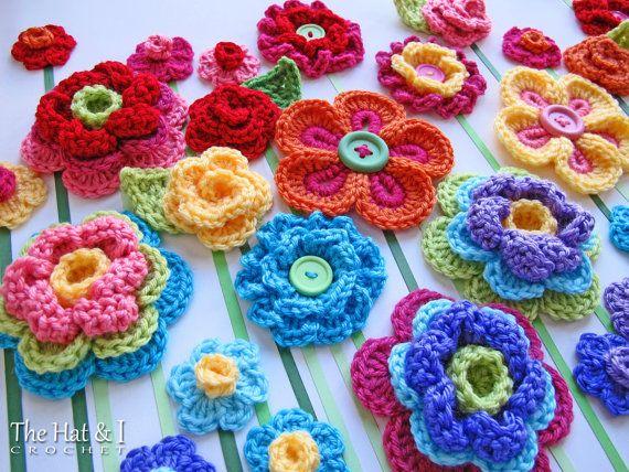 GEHAAKT patroon - Floral Fantasy - 5 kleurrijke gehaakte bloem patronen en 2 mooie bladpatronen - Instant PDF Download
