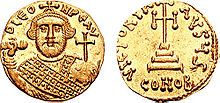 The globus cruciger was used in the Byzantine Empire, as shown in this coin of Emperor Leontius (d. 705)