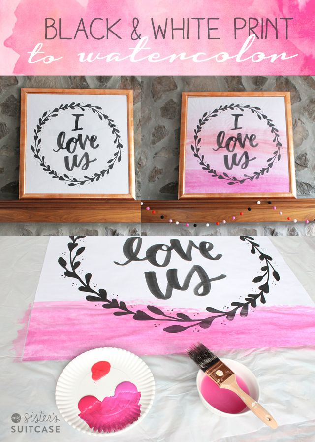 DIY Faux Watercolor Art for Valentine's Day by My Sister's Suitcase!! -- Tatertots and Jello: