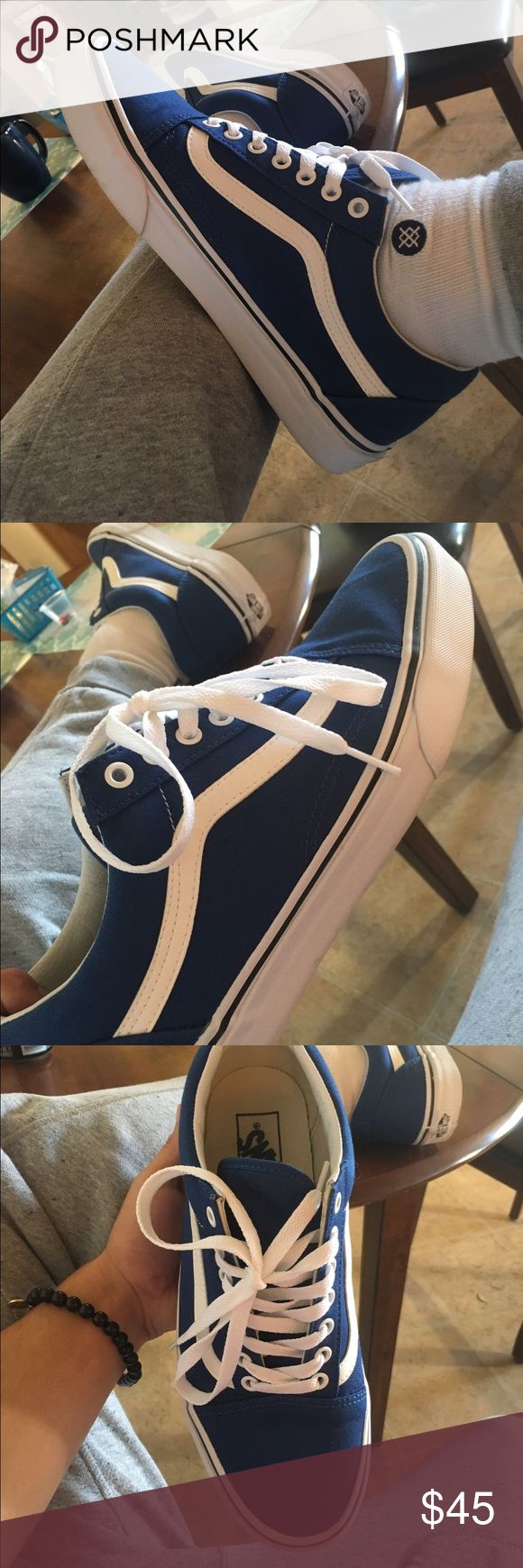 Old School Vans Navy 8.5 Worn once size 8.5 down to trade or sell perfect condition. Vans Shoes Athletic Shoes