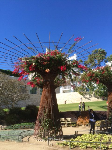 What a way to support climbers. These were made from the metal rods that strengthen buildings. The Getty Centre is the location