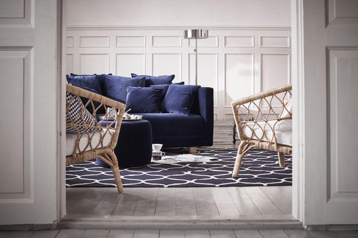 STOCKHOLM 2017 3-zitsbank   IKEA IKEAnl IKEAnederland bank zitbank sofa blauw kwaliteit slowliving scandinavisch rotan stoel fauteuil kleed vloerkleed tapijt inspiratie wooninspiratie interieur kamer woonkamer hip trendy design modern