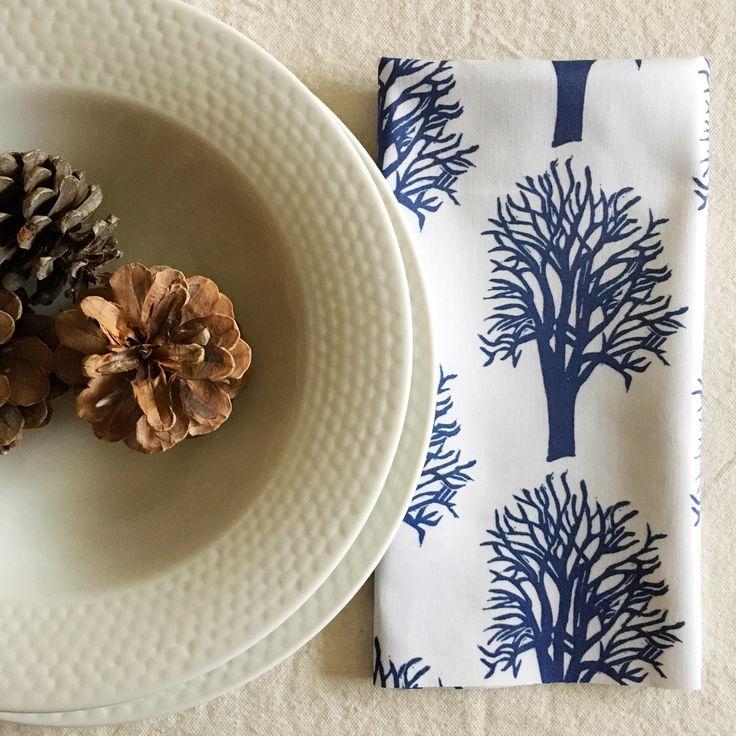 BIO Baumwolltuch Serviettenset! Zero Waste Living, 6er-Set mit dunkelblauen Kirschbäumen, umweltfreundliches Geschenk für Feinschmecker, Feiertagstisch, Gastgeber   – Eco-friendly Thanksgiving