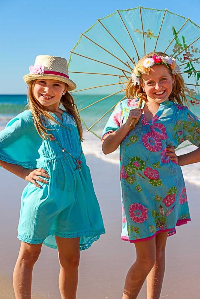 Summer Blue and Pink Blossom Print Child Girl Caftans