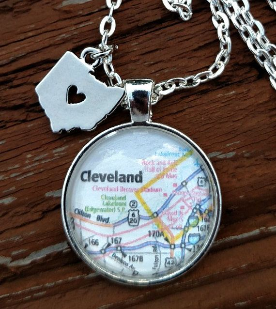 Map of Cleveland Ohio Silver Bezel Necklace by ToadallyKSH on Etsy