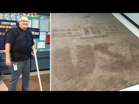 Elementary school janitor surprises students everyday with rug art designs | WGN-TV
