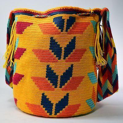 Auténtico Bolso Mochila tribus Wayuu Grande 100% colombiano Boho Hobo mejores Hecho a Mano 393