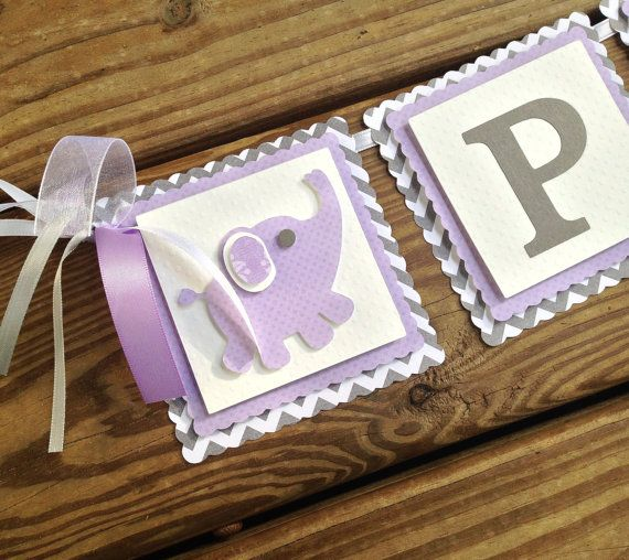 Purple and Grey Baby Shower - Purple and Gray Nursery - Chevron Baby Shower Decor - Chevron Baby Shower - Baby Name Banner on Etsy