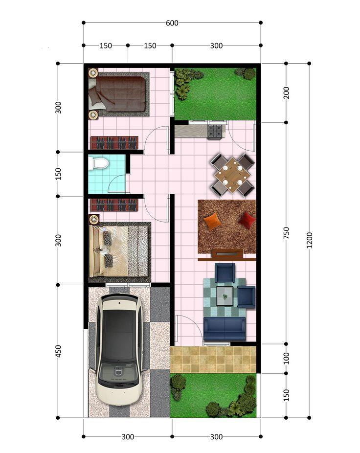 denah susunan tata ruang untuk rumah minimalis type 45 di