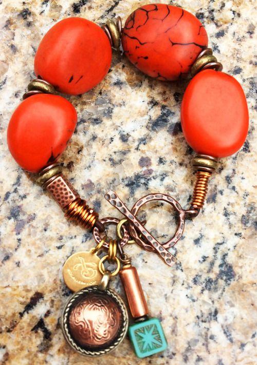 Orange Tagua Nut Bracelet: Exotic Orange Tagua Nut, Copper, Brass and Tibetan Coin Charm Bracelet  $95 Click to buy