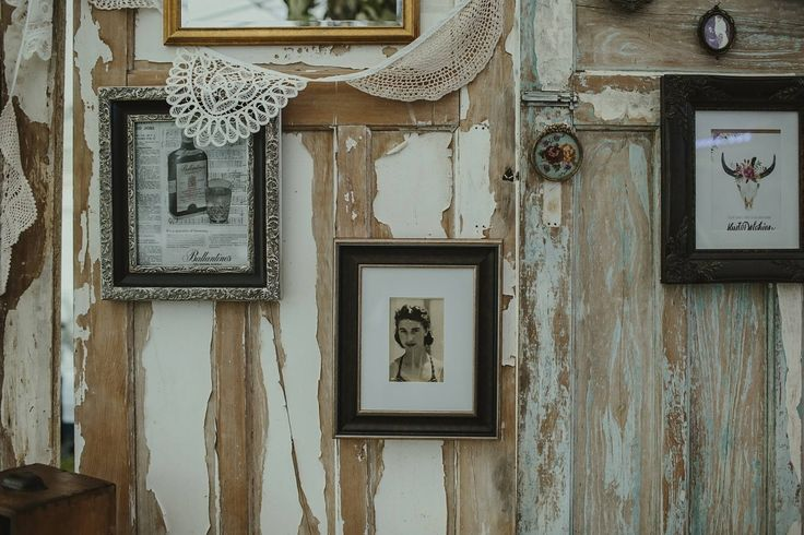 Detail of Vintage Doors, Doilies, and framed images at Boho Wedding at Liddington Gardens. Frames by Delphine Atkins. Photography by Danelle Bohane