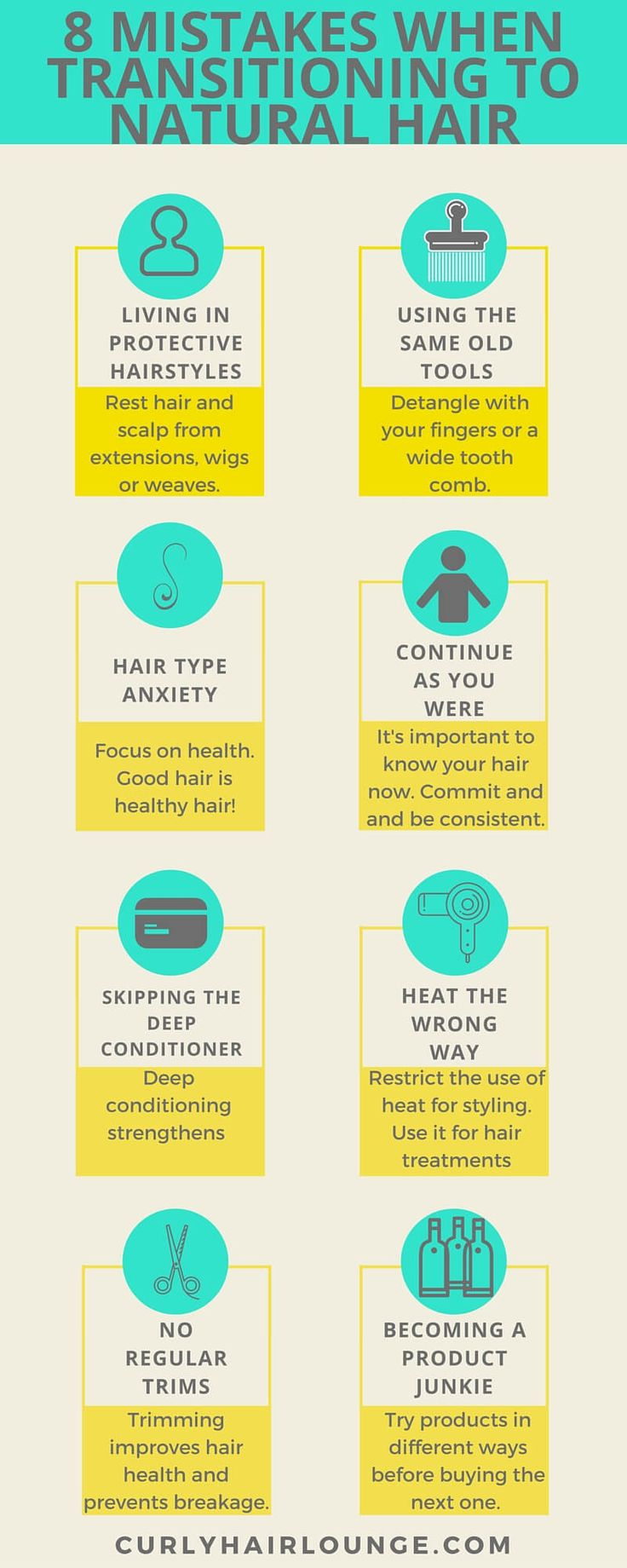 Mistakes can be made at any stage in our natural hair journey. However, rookies have a higher probability of making more mistakes at the beginning of their path. If this is something you want to avoid then get to know the 8 Rookie Mistakes To Avoid When Transitioning To Natural Hair. Do yourself a favour and avoid the headache and stress. Click and pin now to read or save to read later.