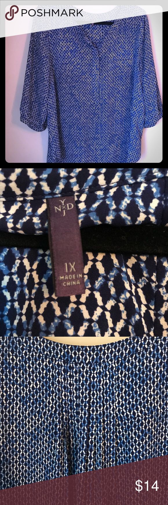 NYDJ plus size blue and white blouse Blue and white pattern NYDJ blouse Perfect for work  Pleat detail on back  3/4 sleeves Excellent used condition NYDJ Tops Blouses