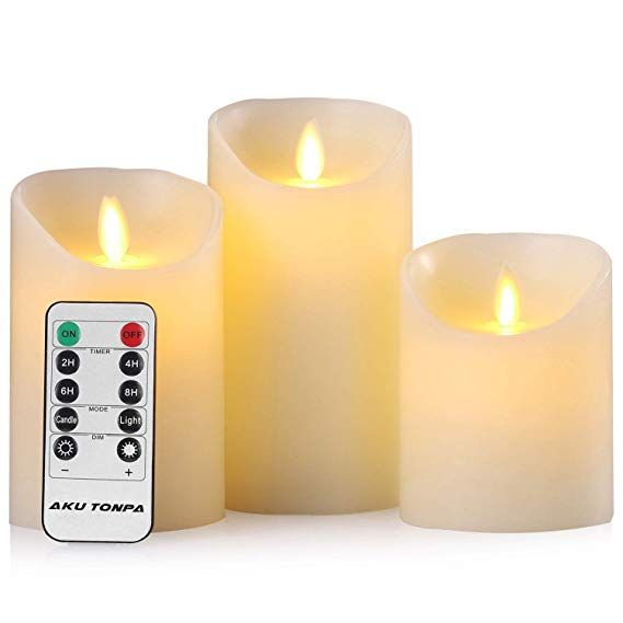 Flameless Candles Battery Operated Pillar Real Wax Flickering