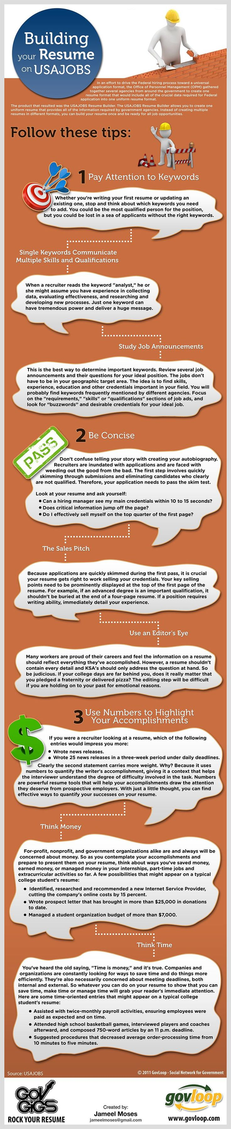 Rock Your Resume, USAJOBS-Style-- Infograph to help job seekers build their USAJOBS.com resume EFFECTIVELY!